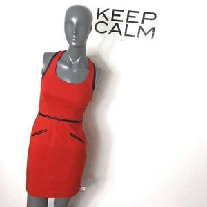 Cynthia Steffe Sheath Mini Dress Red 2 Black Faux